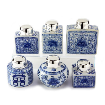 Two's Company Canton Collection Set Of 6 Tea Jars With Nickel-Plated Lid