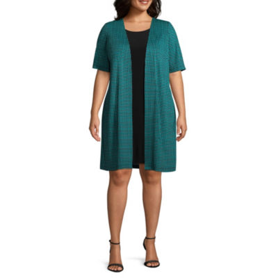Perceptions Elbow Sleeve Houndstooth Jacket Dress - Plus