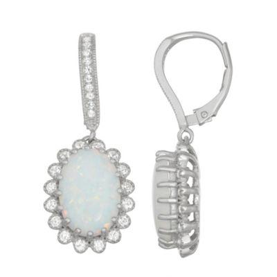 Lab Created White Opal Sterling Silver 32.9mm Oval Hoop Earrings