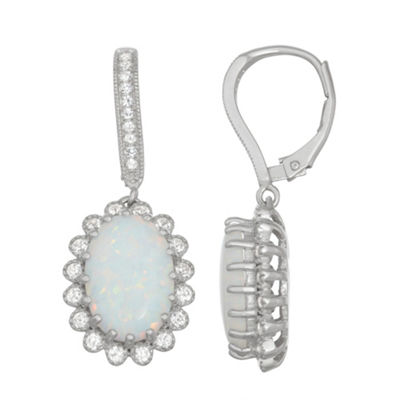 Lab Created White Opal Sterling Silver 32.9mm Oval Hoop Earrings