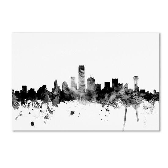 Trademark Fine Art Michael Tompsett Dallas Texas Skyline Bw Giclee Canvas Art