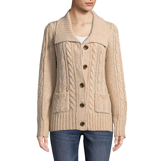 6ef77da36103 St. John s Bay Womens U Neck Long Sleeve Button Cardigan - JCPenney