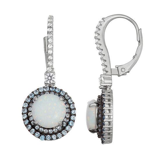 Lab Created White Opal Sterling Silver 27.2mm Round Hoop Earrings