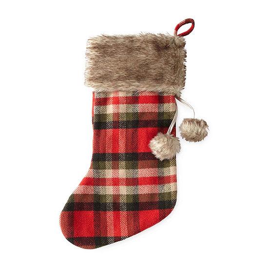 "North Pole Trading Co. 22"" Plaid With Fur Plaid Christmas Stocking"