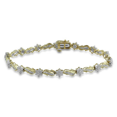 Diamond Blossom 10K Gold 7.5 Inch Box Link Bracelet