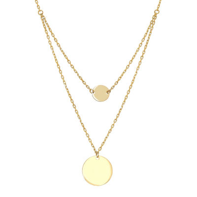 Infinite Gold Womens 14K Gold Round Pendant Necklace