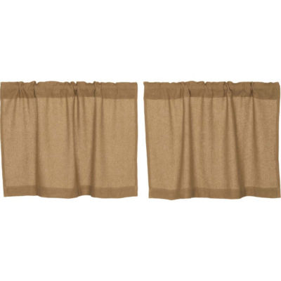 Farmhouse Window Burlap Natural Tier Pair