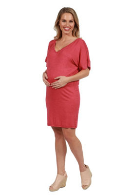 24/7 Comfort Apparel Ashton Maternity Shift Style Mini Dress - Plus
