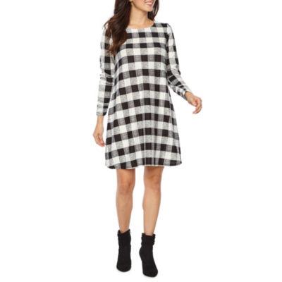 R & K Originals Long Sleeve Plaid Shift Dress