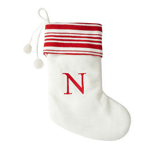 North Pole Trading Co. 19 Inch Embroidered Pom Pom Monogram Christmas Stocking