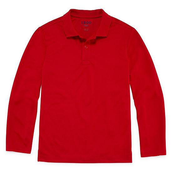 Izod Exclusive Boys Long Sleeve Moisture Wicking Polo Shirt Preschool / Big Kid