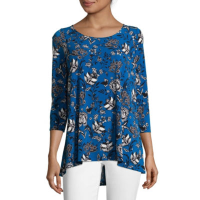 Liz Claiborne 3/4 Sleeve Swing Top - Tall