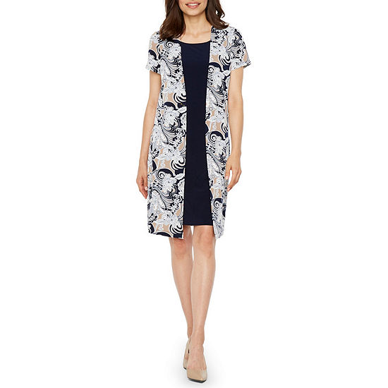 Perceptions Short Sleeve Jacket Dress-Petite