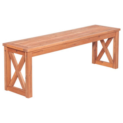 Acacia Wood X-Frame Patio Bench