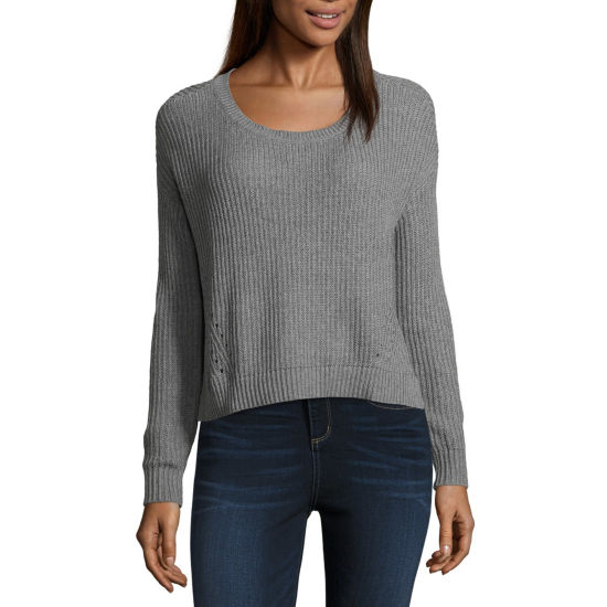 Arizona Long Sleeve Scoop Neck Pullover Sweater Juniors Jcpenney