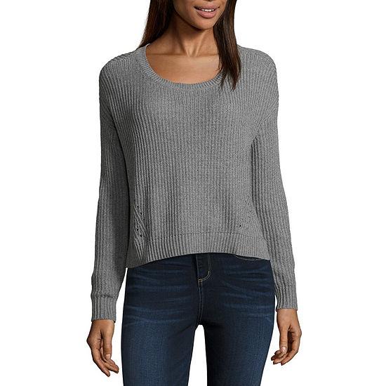 Arizona Long Sleeve Scoop Neck Pullover Sweater-Juniors