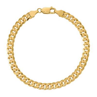 10K Gold 8 Inch Solid Curb Chain Bracelet