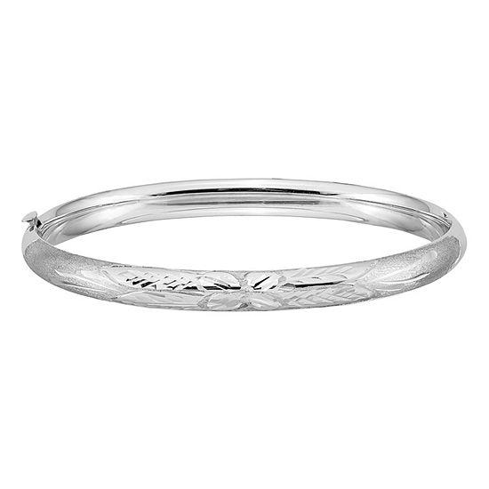 14K White Gold Round Bangle Bracelet