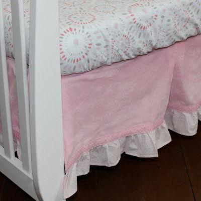 Nurture Pink Velour Crib Dust Ruffle