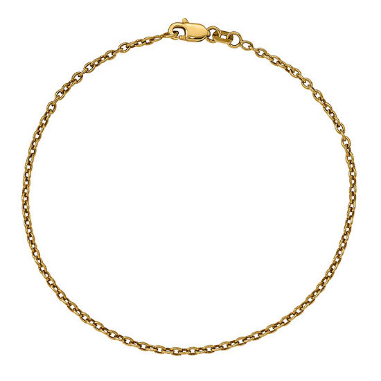 14K White Gold Solid Cable Chain Bracelet