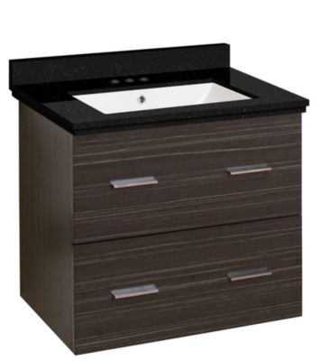 23.75-in. W Wall Mount Dawn Grey Vanity Set For 3H4-in. Drilling Black Galaxy Top White UM Sink