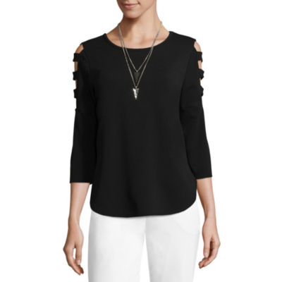 by&by 3/4 Sleeve Round Neck Woven Blouse-Juniors