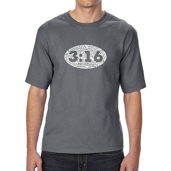 Los Angeles Pop Art Men's Tall and Long Word Art T-shirt - John 3:16