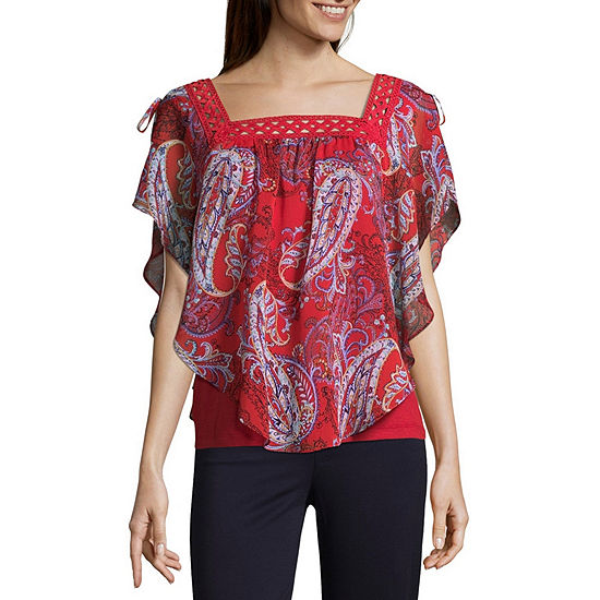 aa66d771c2c03 Alyx Womens Square Neck Short Sleeve Knit Blouse - JCPenney
