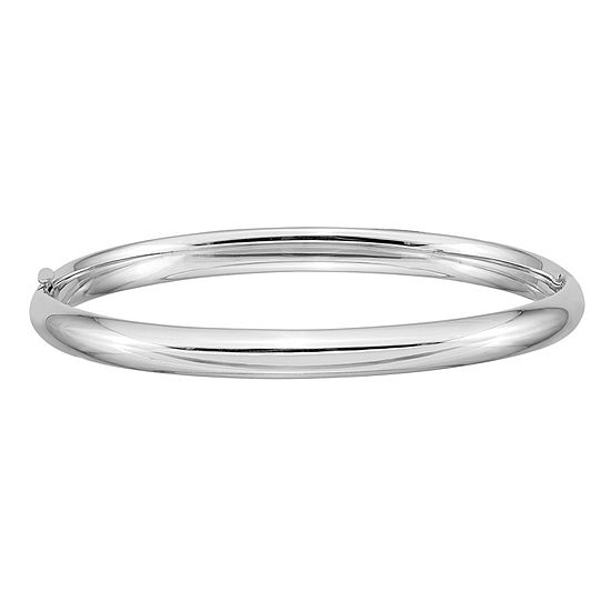 14K White Gold Round Bangle Bracelet