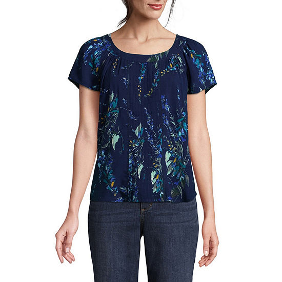 6a69936a684 St Johns Bay Short Sleeve Round Neck Woven Blouse Petites JCPenney