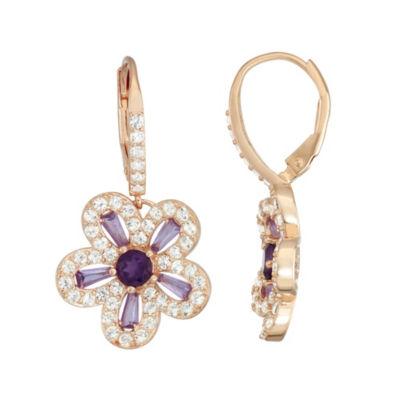 Genuine Purple Amethyst 14K Rose Gold Over Silver 17.5mm Round Hoop Earrings