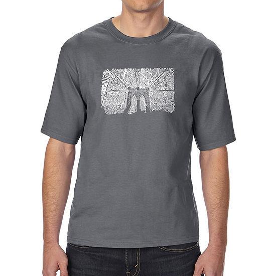 Los Angeles Pop Art Mens Tall And Long Word Art T Shirt Brooklyn Bridge