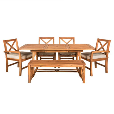 X-Back Acacia Wood 6-pc. Patio Dining Set with Cushions