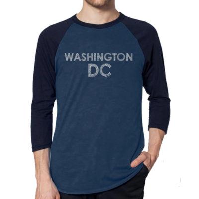 Los Angeles Pop Art Men's Raglan Baseball Word Art T-shirt - WASHINGTON DC NEIGHBORHOODS