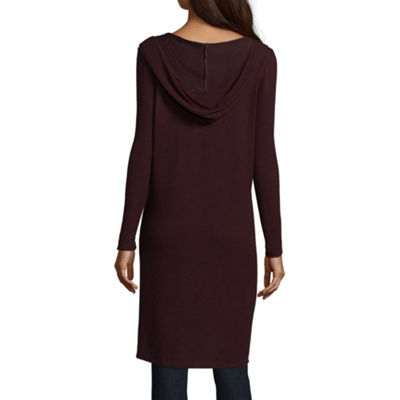 by&by Long Sleeve Hooded Neck Jersey Blouse-Juniors