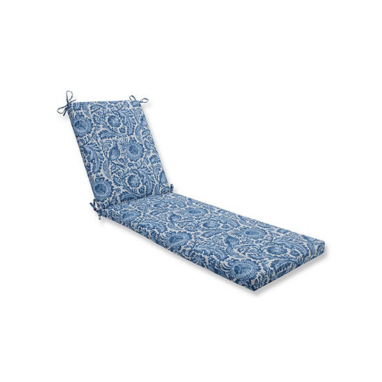 Pillow Perfect Tucker Resist Azure Oversized Patio Chaise Lounge Cushion