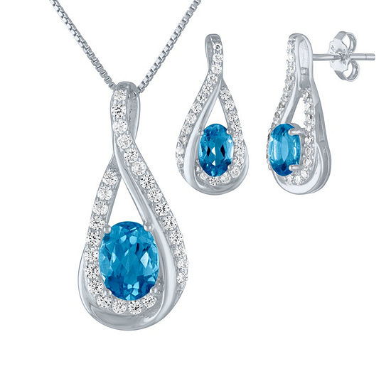 Genuine Blue Topaz Sterling Silver 2-pc. Jewelry Set