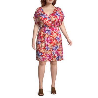 Spense Short Sleeve Floral Fit & Flare Dress - Plus