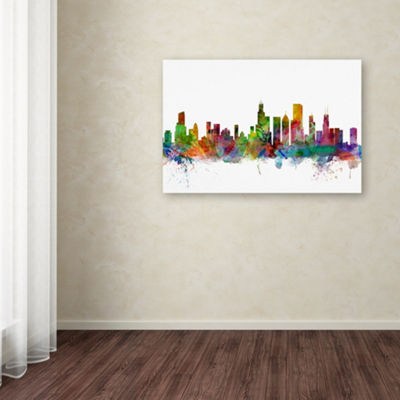 Trademark Fine Art Michael Tompsett Chicago Illinois Skyline Giclee Canvas Art