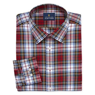 Stafford Tartan Trend Easy-Care Stretch Big And Long Sleeve Dress Shirt