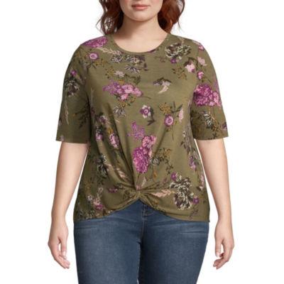 Wallflower Short Sleeve Crew Neck Floral T-Shirt-Womens Juniors Plus