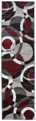 World Rug Gallery Contemporary Modern Circles Abstract Runner Rug