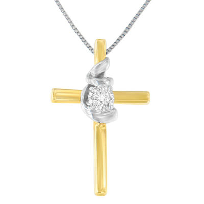 Womens 1/10 CT. T.W. White Diamond 10K Two Tone Gold Cross Pendant Necklace