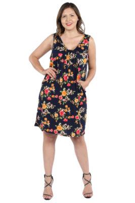 24Seven Comfort Apparel Bryn Black Floral Mini Dress - Plus