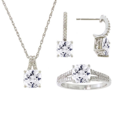Womens 3-pc. White Sapphire Sterling Silver Jewelry Set