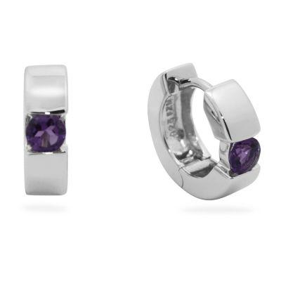 Purple Amethyst Sterling Silver 13.7mm Hoop Earrings