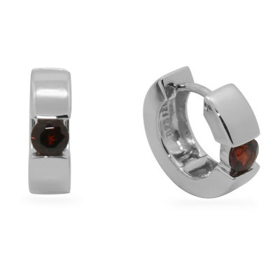 Red Garnet Sterling Silver 13.7mm Hoop Earrings