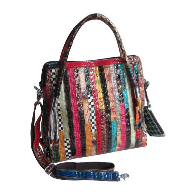 Amerileather Etta Animal Print Leather Handbag