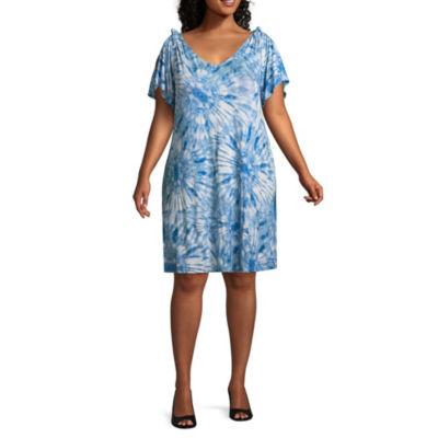 Spense Short Sleeve Tie Dye Shift Dress - Plus