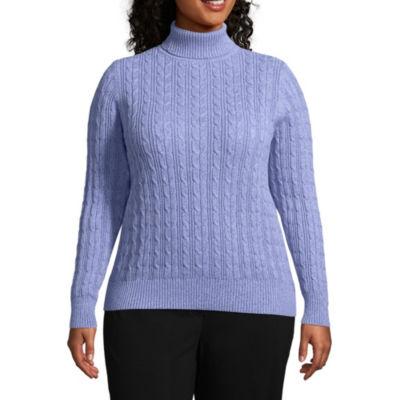 St. John's Bay Cable Turtleneck Sweater - Plus